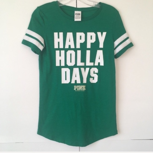 PINK Victoria's Secret Tops - Pink Victoria's Secret Happy Holla Days Tee